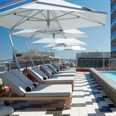Featuring: Nautical Sun Loungers with 3M Round Cantilever Umbrellas