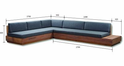 Platform Sofa w. Side Table [Full set dimensions: 3650l x 2700d x 600h mm]